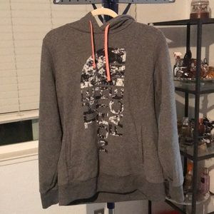 Gray and Peach North Face hoodie. Size Large